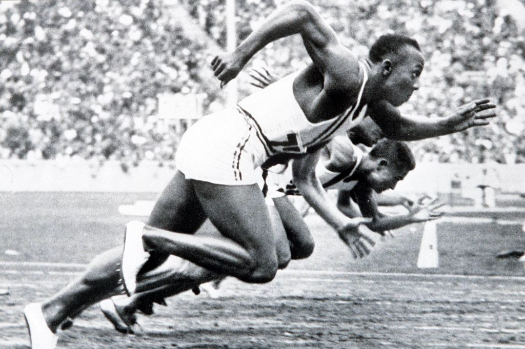 Jesse Owens. Final of 100 metres. Olympic Games, Berlin, 1936. Photo Propperfoto / Getty Images